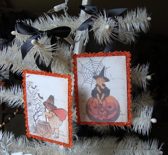 Little witches glittered halloween ornaments orange glitter