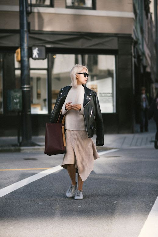 Le Fashion Blog Motorcycle Jacket Cream Sweater Knit Skirt Gray Sneakers Via The Haute Pursuit