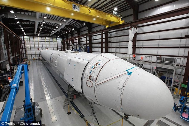 Step two: Musk says building a vertical landing rocket described as 'rapid and reusable' is already underway in SpaceX's Falcon 9 rocket, pictured, that is estimated to achieve its marks in the next year or two