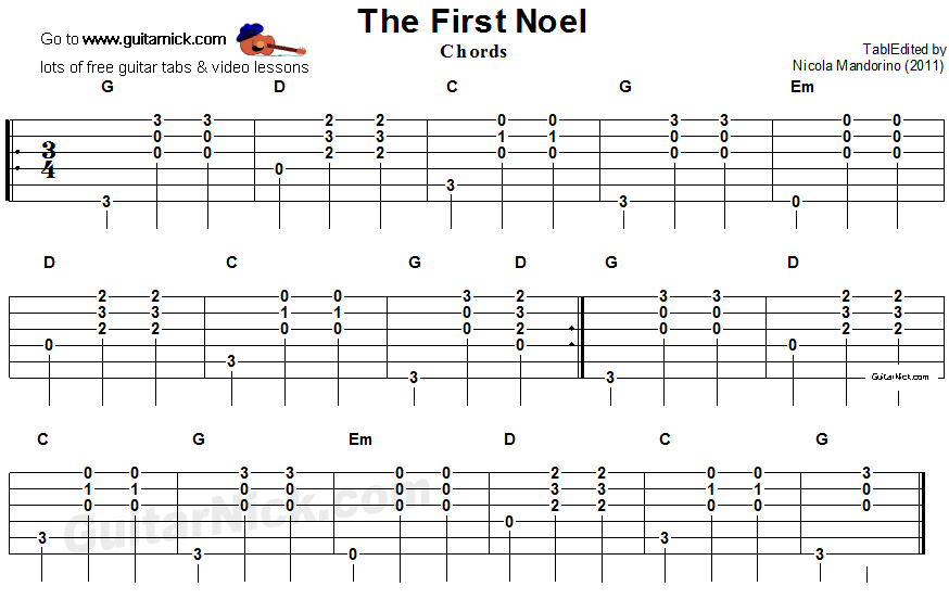 Outstanding The First Noel Chords Gift - Beginner Guitar Piano ...