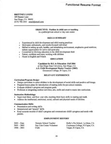 functional resume young teacher