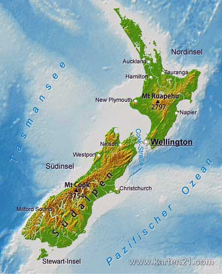 Neuseeland Hauptstadt Karte