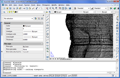 Exported head on layout view in AutoCAD 2004