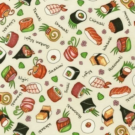 Chopsticks Please, Sushi on Ivory Fabric - Reserved for tricotin