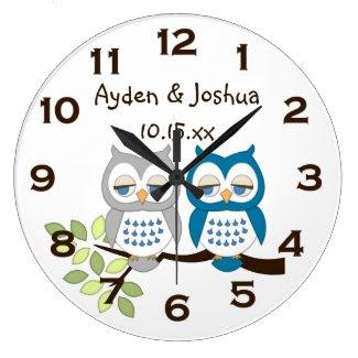 Cute Whimsical Boy Owl Twins Wall Clock