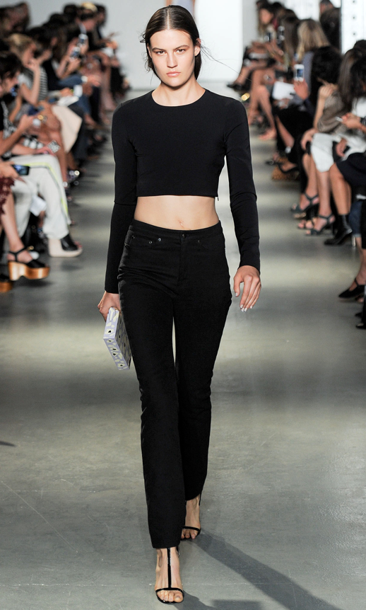 LE FASHION BLOG WES GORDON SS 2014 NYFW BLACK CROP SHIRT HIGH WAIST DENIM SANDAL 2 photo LEFASHIONBLOGWESGORDONSS2014NYFWBLACKCROPSHIRTHIGHWAISTDENIMSANDAL2.png