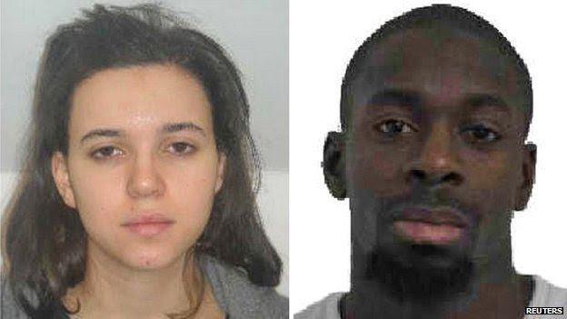 Hayat Boumeddiene, left, and Amedy Coulibaly in images released by police during the kosher supermarket siege in Paris - 9 January 2015