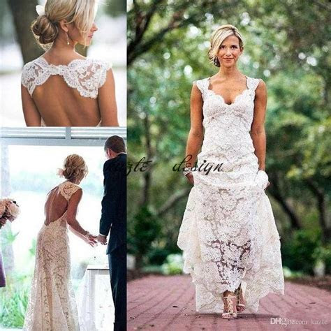 Vintage Lace Cap Sleeve Country Garden Wedding Dresses
