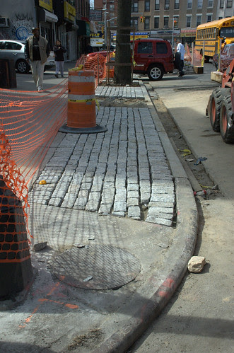 Dry-laid cobblestones, Cortelyou Road, South side, West of Stratford Road