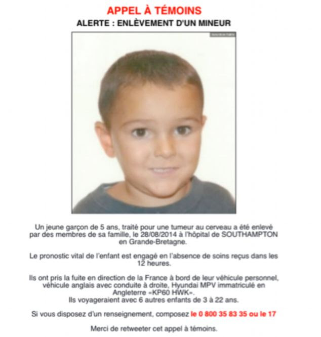 French police and media are helping with the search and posters have been issued in a bid to find him