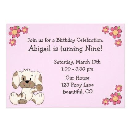 Puppy Dog Birthday Invitations for Girls