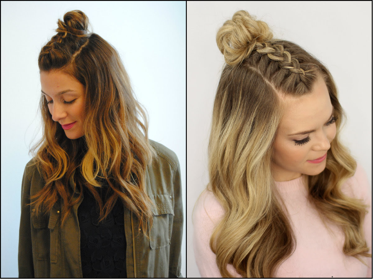 Half Up Half Down Top Knots Best For Summer Time Long Hairstyles