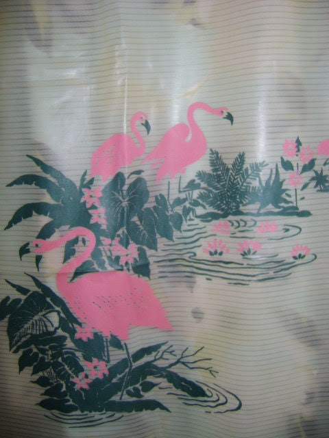 50s vintage 1950s shower curtain PINK FLAMINGO by capricornvintage