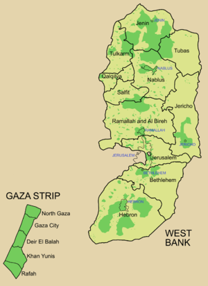 Map showing governorates and areas of formal P...