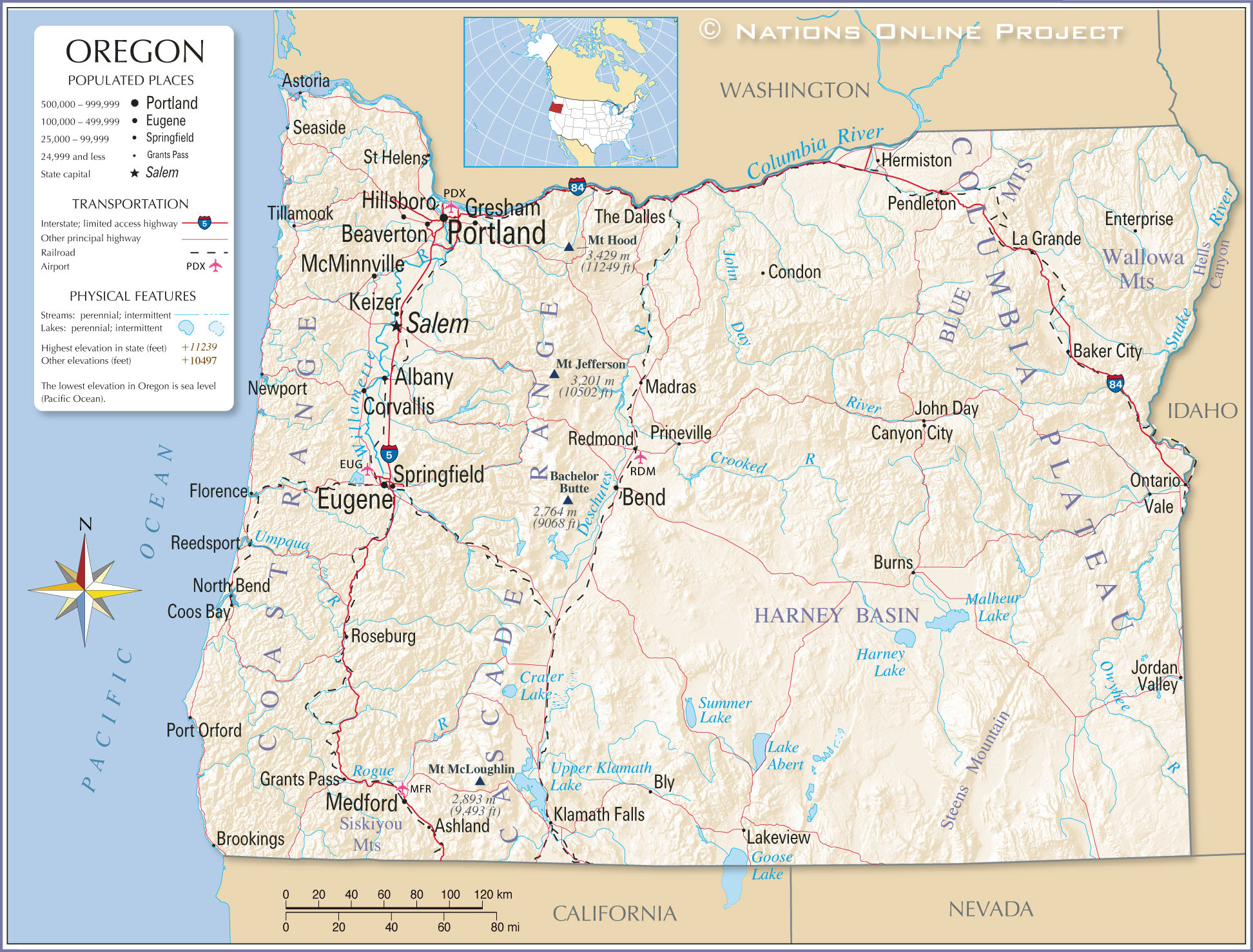 Reference Maps Of Oregon Usa Nations Online Project