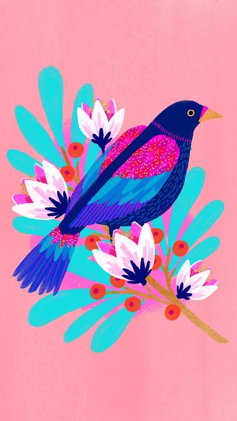 خلفية طير مرسوم مع زهور بلون وردي