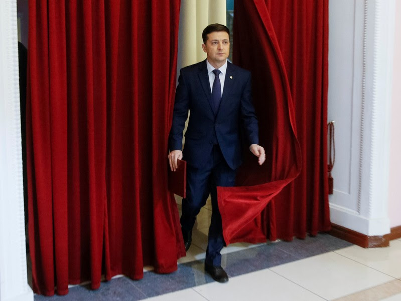 FILE PHOTO: Volodymyr Zelenskiy, Ukrainian comic actor and candidate in the upcoming presidential election, takes part in a production process of Servant of the People series in Kiev