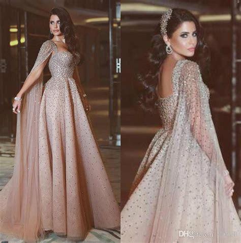 Elegant Arabic Evening Dresses Rhinestone Champagne Formal
