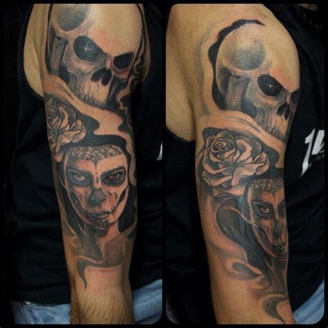 tattoo skull woman rose arm tattoo marecuza tattoo