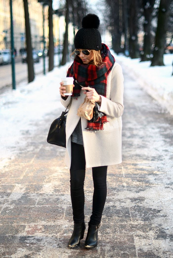 white coat, grey sweater, plaid scarf, black pants, + black ankle booties- so cute for Winter