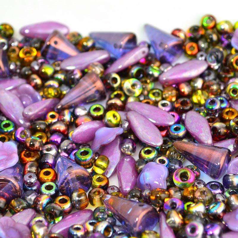 s45977 BeadFX Bead Mix -  Czech Glass Mix - More Purple (Pack)