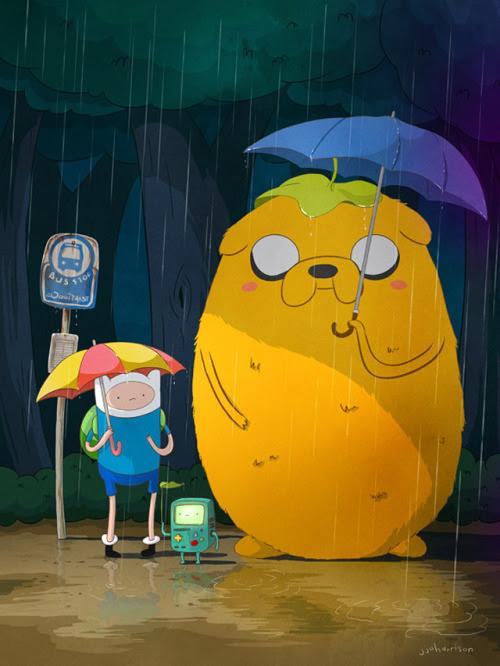 Mashup of Adventure Time and My Neighbor Totoro