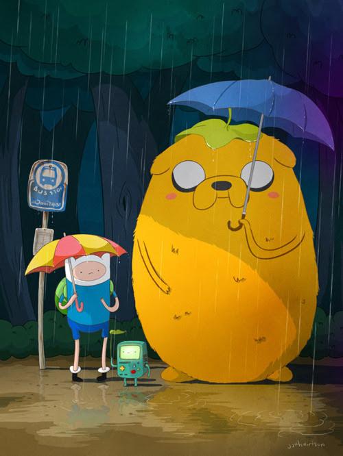 Mashup of Adventure Time and My Neighbor Totoro