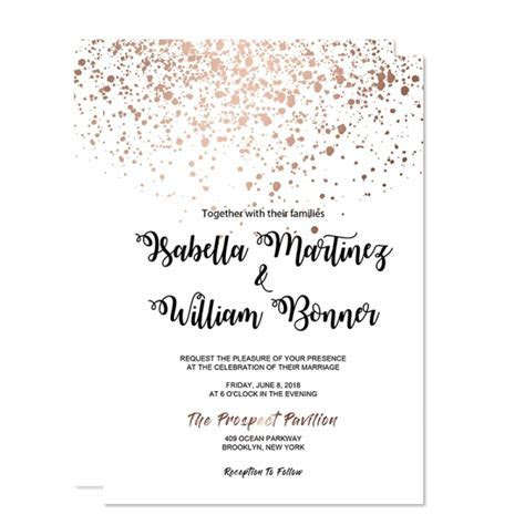 Cheap Rose Gold Glittery Spring Wedding Invitations