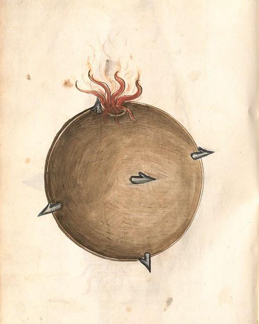 lit medieval bomb