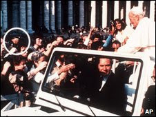 Agca shooting at Pope John Paul II [source:bbc.co.uk ]