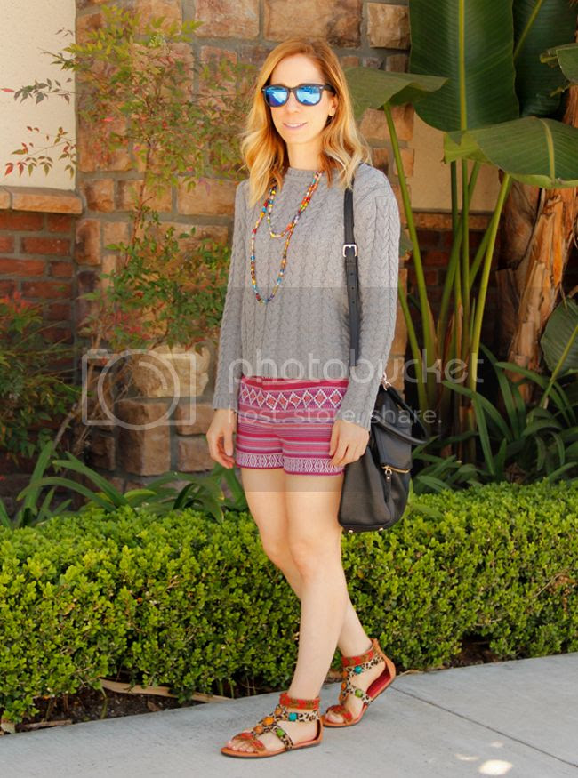 Fashion blogger The Key To Chic wears a Cotton On cable knit sweater with Merona jacquard shorts, a Kate Spade Cobble Hill Little Minka bag, and beaded sandals.