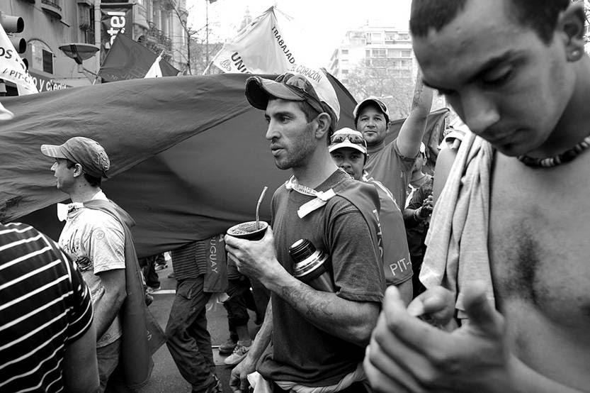 Marcha del SUNCA por la muerte de un trabajador, ayer, por 18 de Julio.