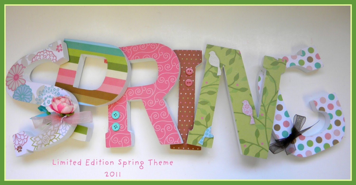 Custom Wooden Letters - LIMITED EDITION SPRING 2011 Theme