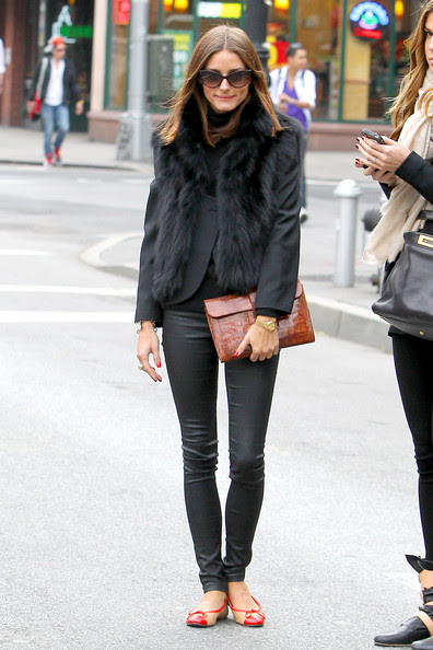 """Olivia Palermo Olivia Palermo, star of """"The City"""", wears a fur vest while having lunch with a friend at Sant Ambroeus in NYC. After lunch, the pair walked arm in arm down the street to a waiting cab."""