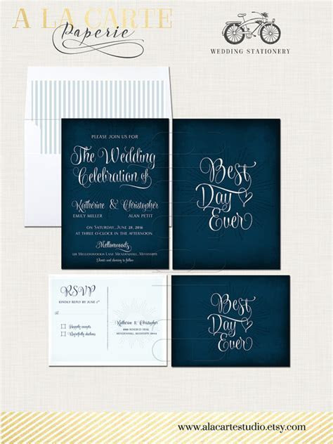 Best Day Ever Navy Chalkboard Wedding Invitation Card And