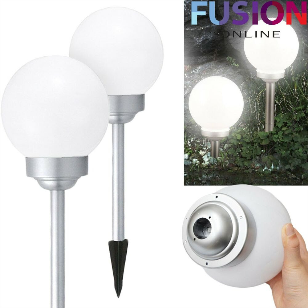 2 X LARGE LED SOLAR POWERED WHITE GLOBE BALL GARDEN LIGHTS STAKE POST LIGHTS eBay