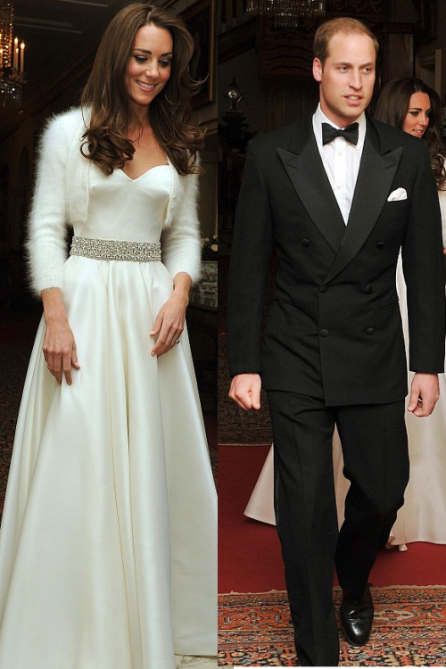 TRH The Duke and Duchess of Cambridge arrive at their evening reception.