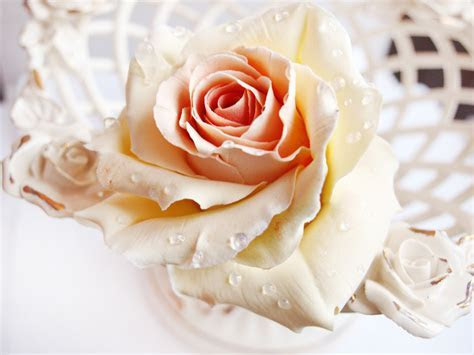 Ivory Rose Hair Pin   Handmade Flowers   Oriflowers