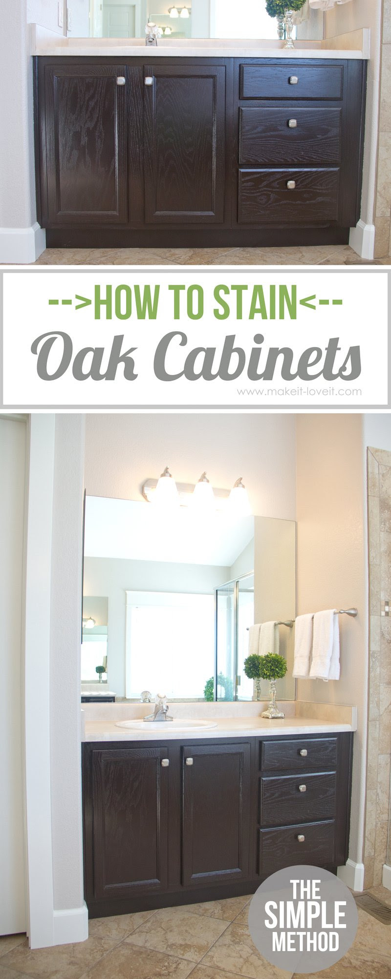 How to Stain OAK Cabinets...the simple method (without ...