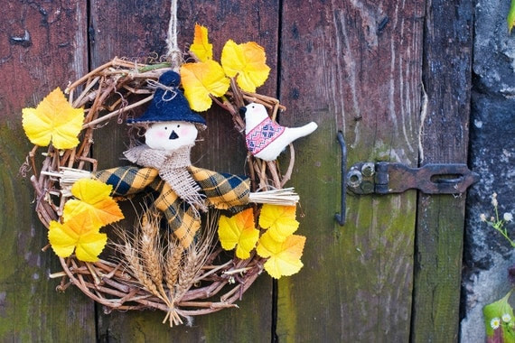 "Autumn wreath ""Scarecrow"". Home decoration, front door decor.  Halloween, Thanksgiving day. Brown, yellow, wood, nature, eco friendly."