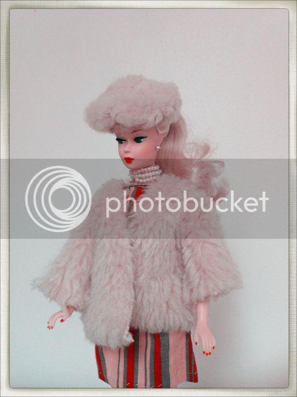 vintage faux fur coat hat  barbie