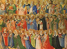"""Detail from """"The Forerunners of Christ with Saints and Martyrs"""" panel from Fra Angelico's magnificent San Domenico altarpiece in Fiesole, Italy."""