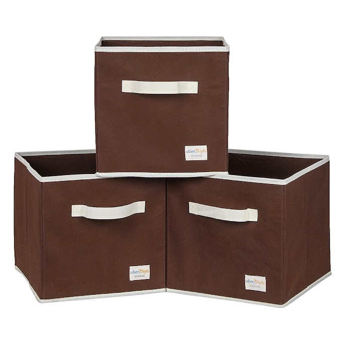 Uberlyfe Cubies Storage Boxes for Anything and Everthing - Brown 3Pc Set (1003-Cub-Br3Pc)