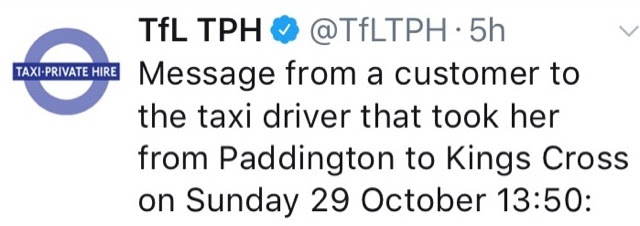 Redressing The Ballance... Letter To TfLTPH From A Grateful Passenger