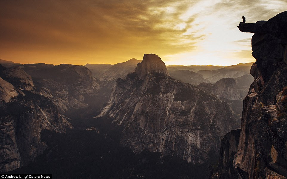 The 22 year old is keen to illustrate the insignificance of mankind in the contrast to the scale of natural world. This picture was taken atGlacier Point, Yosemite National Park, California
