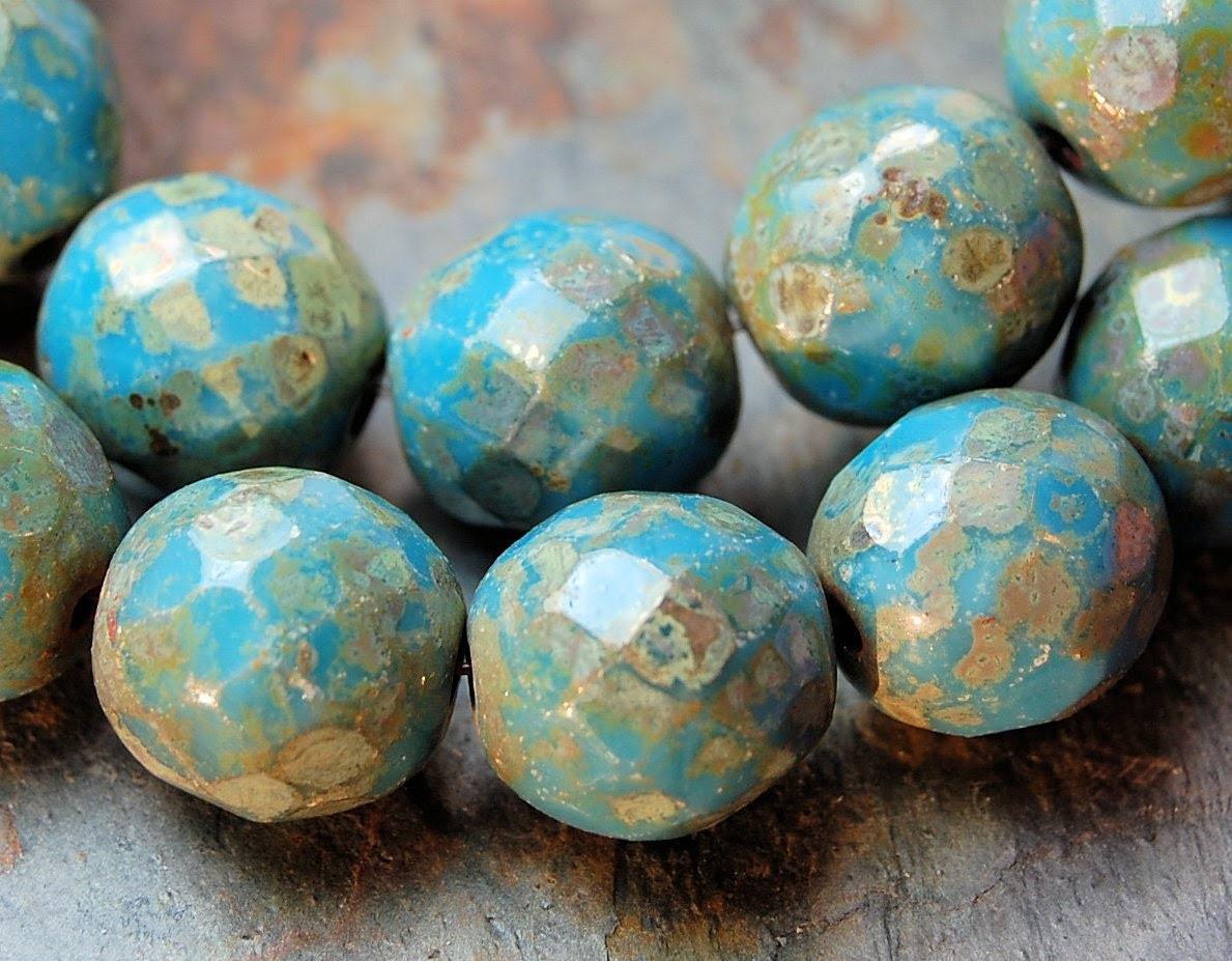 Czech Beads 12mm Faceted in opaque Blue Picasso -5 - BeadGirlzBoutique