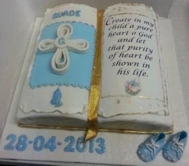 Open Bible themed cake for christening. Bible verse on