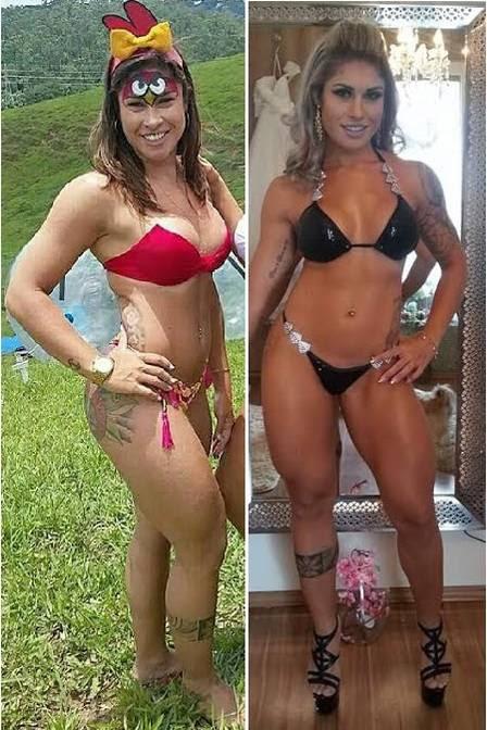 Rita Mattos antes e depois de intensificar os treinos