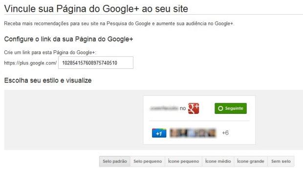 Google Plus no seu site