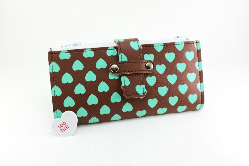 Chocolate n Mint Hearts Galore Lady Wallet - Fat Free and Sugar Free with all the flavor - whodinihandmade